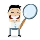 Businessman with big magnifying glass. Illustration of funny businessman with big magnifying glass Stock Photos