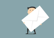 Businessman with big paper postal envelope. Business communication correspondence and document management concept design with cartoon businessman which carrying Royalty Free Stock Photography