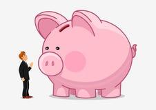 Businessman with big piggybank. Money saving Royalty Free Stock Images