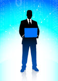 Businessman on Binary Code Background Stock Photography