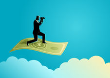 Businessman with binoculars flying on banknote. Business concept illustration of a businessman with binoculars flying on banknote Stock Photo