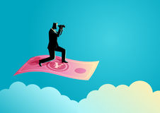 Businessman with binoculars flying on Yuan banknote. Business concept illustration of a businessman with binoculars flying on Yuan banknote Royalty Free Stock Photos