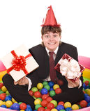 Businessman birthday with gift box. Royalty Free Stock Photography