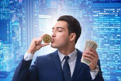 The businessman in bitcoin price increase concept. Businessman in bitcoin price increase concept Stock Photography
