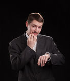 Businessman on black Royalty Free Stock Photos