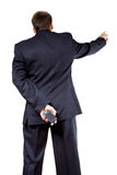 Businessman in black from behind Stock Photo