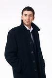 Businessman in the Black Coat. Portrait of a young businessman in the black coat Stock Photos