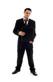 Businessman with black folder Stock Photo