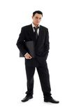 Businessman with black folder Royalty Free Stock Photo