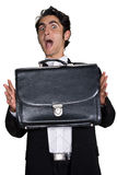 Businessman with black leathern case. Stock Photos
