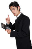 Businessman with black leathern case. Royalty Free Stock Photography