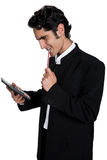 Businessman with black leathern case. Royalty Free Stock Photo