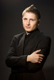Businessman in black shirt Royalty Free Stock Image