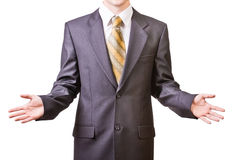 Businessman in black suit Stock Images