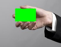Businessman in a black suit and black tie holding a card, a hand holding a card, green card, card is inserted, the green chroma Royalty Free Stock Photo
