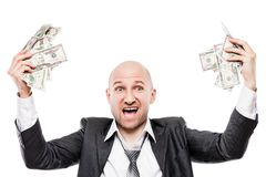 Businessman in black suit hand holding US dollar currency money Royalty Free Stock Photo
