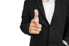 Businessman in black suit pointing hand gun sign to screen, selective focus, isolated on white background Stock Photos