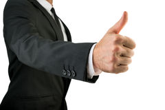 Businessman in Black Suit Showing Thumbs Up Sign Royalty Free Stock Photography