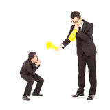Businessman blame or encourage to worker with megaphone Royalty Free Stock Image
