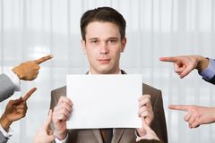 Businessman with blank Stock Photo
