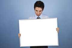 Businessman with blank banner royalty free stock photos