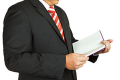 Businessman with a blank book Stock Photography