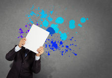Businessman with blank book and splash Stock Photography