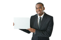 Businessman with Blank Card Royalty Free Stock Photography