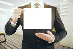 Businessman with blank card Royalty Free Stock Photo