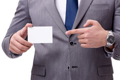 The businessman with blank card isolated on white background Royalty Free Stock Photos