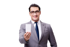 The businessman with blank card isolated on white background Royalty Free Stock Photo