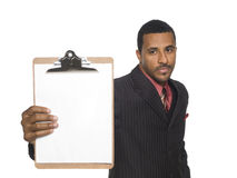 Businessman - Blank Clipboard Stock Image