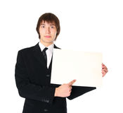 Businessman with the blank list of paper Royalty Free Stock Image