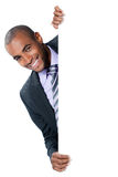 Businessman with blank panel Royalty Free Stock Image