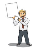 Businessman with blank placard Stock Images