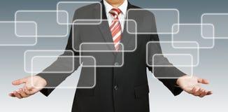 Businessman with blank rectangular. Businessman with two hands and blank rectangular Royalty Free Stock Images
