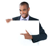 Businessman with blank sign Royalty Free Stock Images