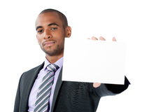 Businessman with blank sign Royalty Free Stock Image