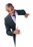 Businessman with blank sign Royalty Free Stock Photos