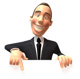 Businessman with a blank sign. 3d generated Royalty Free Stock Photography