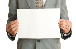 Businessman with a blank sign Stock Photography
