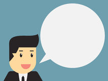 Businessman with blank speech bubble Stock Image