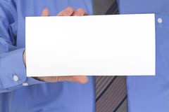 Businessman with blank white card Stock Photos