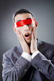Businessman blinded by  tape Royalty Free Stock Photography