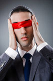 Businessman blinded by tape royalty free stock photos