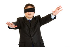 Businessman with blindfold covering his eyes Stock Photography