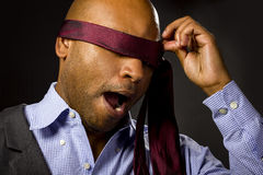 Businessman Blindfolded Royalty Free Stock Photos