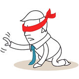 Businessman blindfolded on his knees Royalty Free Stock Photo