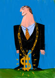 Businessman with Bling bling. Businessman with a great chain of gold in the neck, and symbol of the dollar Stock Image
