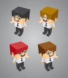 Businessman block isometric cartoon character Royalty Free Stock Photography